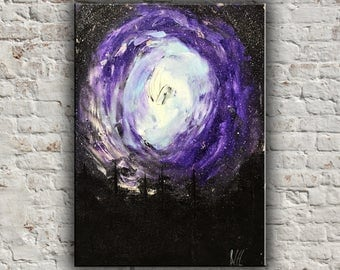 Gift For Men Gift For him Original oil painting Space art Gifts idea for him Painting wall art Violet painting Purple space Sky art Forest