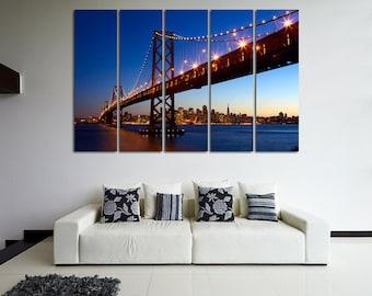 San Francisco Canvas Art San Francisco Photo San Francisco Poster San Francisco Print San Francisco Oakland Bay Bridge Canvas Wall Art Set
