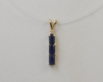 10k Gold Sapphire Pendant Charm .9g