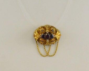 14k Yg Victorian Carved Locket Pendant W/ Multicolored Gemstones 11.1 Grams