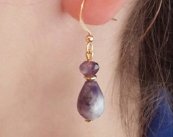Silver bathed in gold and Amethyst earrings