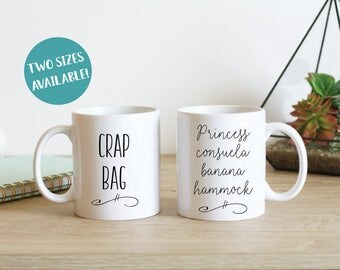 Crap Bag and Princess Consuela Banana Hammock Couples Mugs, Friends Mug Set, Couples Mug Sets, Statement Mugs, Boyfriend Gift, Amazing Gift