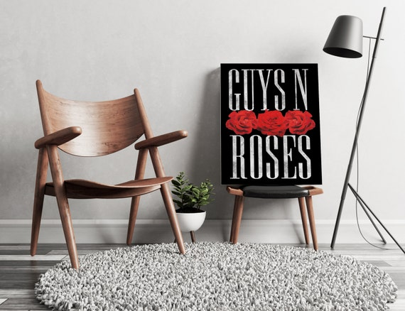 Guys N Roses black  | artwork | art prints | canvas art | framed art | art posters | watercolor art | giclee prints | wall art