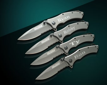 11 Personalized Knifes - 11 Custom engraved Gun Metal Grey Tactical knife-Titanium coated laser engraved gift - Birthday gift - Wedding gift