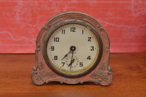 Items Similar To Antique Red Desk Clock With Floral
