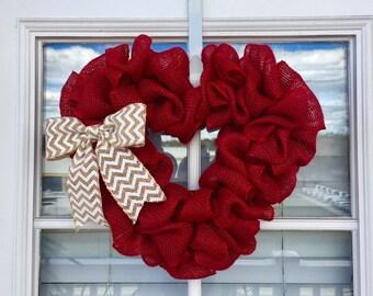 Valentines Day Wreath, Valentines Wreath, Heart Wreath, Valentines Decor, Valentines Day Decor, Red Wreath, Burlap Wreath, Front Door Decor