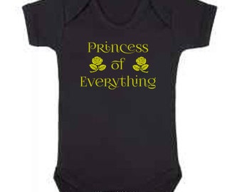Black and Gold Princess of Everything Babygrow, Baby Gift, Baby Girl, Baby Vest, Bodysuit, Onesie