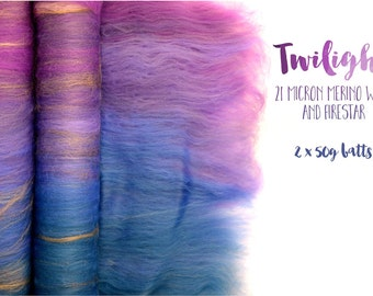 Spinning batts - Gradient - 100g - 3.5oz - 21 micron merino wool - firestar - Purple - TWILIGHT