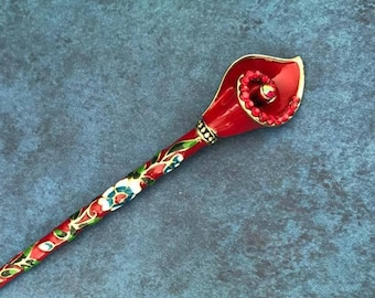 Cloisonne Hair Stick, Red Calla Lily, Chopstick, Rhinestone, Hair Jewelry, Oriental, Asian, Flower, Floral, Updo