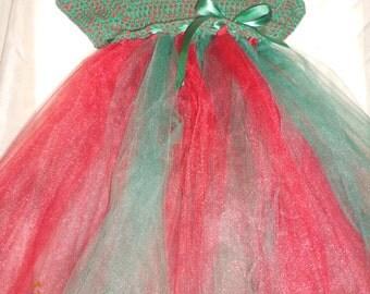 Girl's dress, crochet/tulle dress, girls crochet/tulle dress