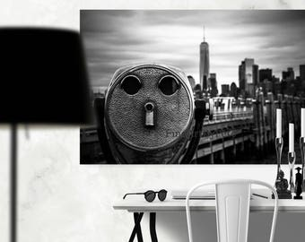 New York viewfinder canvas, City skyline art, black and white minimalist landscape, Freedom Tower print, Liberty Island decor, wall hangings