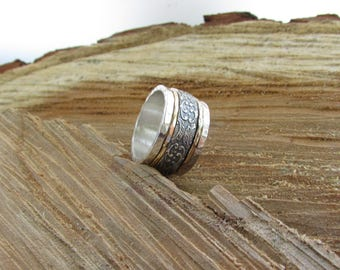 Unique spinner ring,spinner silver band,Spinning silver ring,Worry Ring,Silver band,Meditation ring,Spinner rings for women,wide women ring