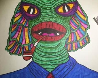 CREATURE From The BLACK LAGOON Portrait Print