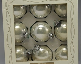9 Vintage Shiny Silver Glass Christmas Ornaments