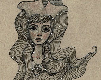 Pirate Ship Girl Postcard Print