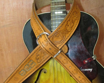 Custom Tooled Leather Guitar Strap by Circle Pi, Made to order