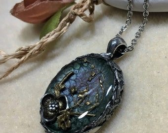 Flower Necklace Flora Pendant  Resin Jewelry