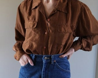 Silk Minimalist Chocolate Button-down Blouse With Pockets- Size Small