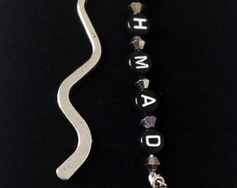Silver tone Personalised name and charm  bookmark.  personalised gift, name bookmark