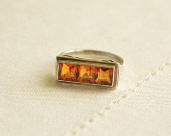 Art Deco Gold TOPAZ Silver 830 Ring Size 6.5