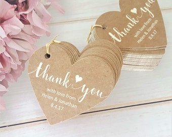 10 Personalised Wedding Favour Tags, Thank You - Heart Shaped Tag - Kraft Effect with Ivory Cream Writing