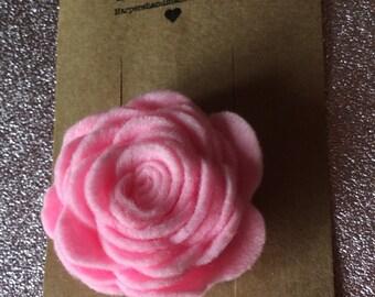 Felt rose hair clip