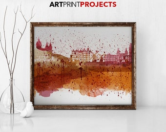 Amsterdam Wall Art Poster Wall Print Watercolor Print Holland Skyline City
