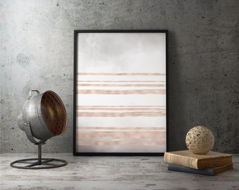 Abstract Copper Wall Art, Rose Gold Room Decor, Abstract Decor Print, Printable Wall Art, Line Art Wall Art, Minimalist Wall Art, Copper Art