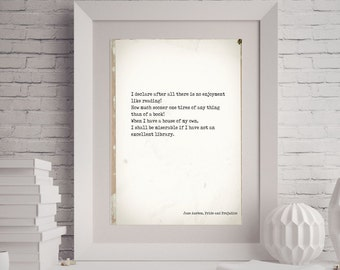 Pride and Prejudice Print, Reading Quote, Jane Austen Quote Art, No Enjoyment Like Reading Book Quote Print, Jane Austen Wall Art