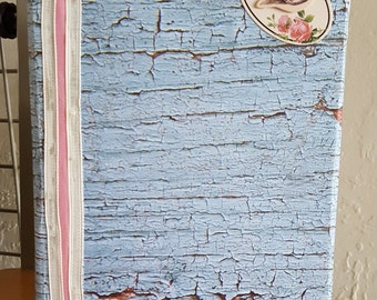 Blue Tree Bark and Bird Themed Homemade and Homebound BoundEra Journal