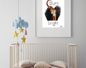 "Tiger illustration nursery art print//baby shower//baby gift//nursery decor//nursery wall art//""burn bright"""