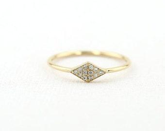 14K Micro Pave Diamond Ring/ Trendy White Diamond Ring Gift for Her/ Dainty Diamond Ring