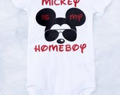 Baby Boy's Mickey Is My HomeBoy Onesie, Toddler Mickey Shirt, Mickey Outfit, Mickey Sunglasses, Mickey Homeboy Shirt, Disney Shirt