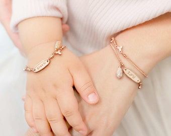 Personalized Mother Daughter Bracelet, Mother Daughter Jewelry, Baby Bracelet, Rose Gold Happiness You & Me Bracelet set