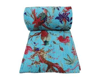 Turquoise Handmade Bird Design Kantha Quilt Cotton Kantha Blanket Bedspread Kantha Picnic Throw Queen Size Kantha Bed Cover Indian Gudri