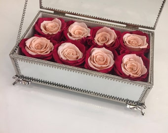 8 Eternity Roses in a Mirrored Vintage Box
