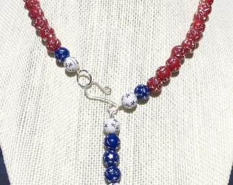Red White and Blue Beaded Sea Glass Necklace