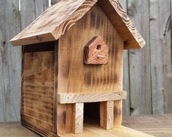 Rustic Birdhouse Bird Feeder Pine Wood Handmade in California!