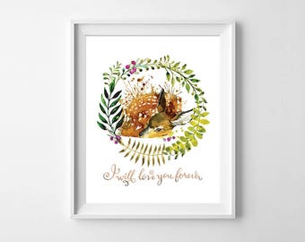 Deer Nursery Print, Woodland Animals Watercolor Print, Kids Room Animal Print, Nursery animal wall art, Nursery animal decor, Shower Gift