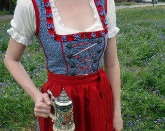 Blue Floral Dirndl with Red Trim and Apron - Size Small