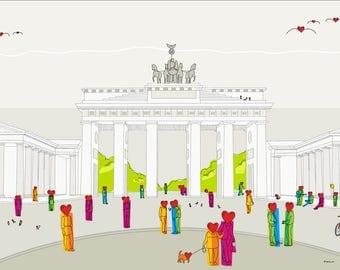 Berlin, Brandenburger Tor - Felix Krusch - illustration, wall decoration, wall decoration, art print, printable art, digital download