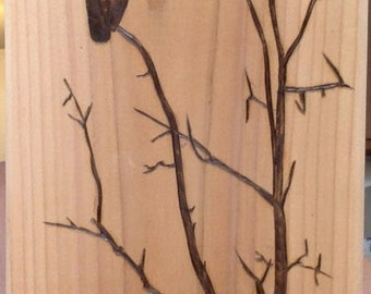 Wood-burning Artwork owl silhouette
