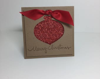 Classic Christmas Note Card Handmade - One set of 8 cards