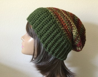 Striped Slouchy Hat, Free Shipping,  Olive Green ladies Crochet Hat, Slouch Beanie,  Woman 's, Teen or adult Modern slouchy, Trendy Beanie