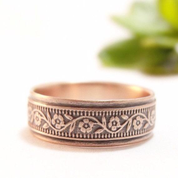 Rose Gold Wedding Band, Womens Wedding Band, Mens Wedding Band, Petunia, Floral Wedding Ring, Womens Wedding Ring, Mens Wedding Ring