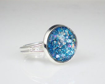 Aqua Blue Glitter Nail Polish Adjustable Ring Jewelry