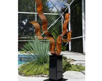 Modern Metal Art, Metal Sculpture, Abstract Indoor Outdoor Decor, Contemporary Garden Art - Reaching Out Copper by Jon Allen