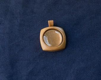 "Blank pendant setting fine finished - Cherry - 1"" - 25.5 mm cavity - (F2c-C) - Organic bail"