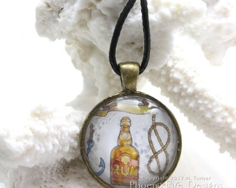 Pirate Bottle of Rum Jewelry Ship Anchor Pendant Sailor Ship Knot Rope Nautical Art Watercolor Pirate Painting Sea Life Buccaneer Necklace