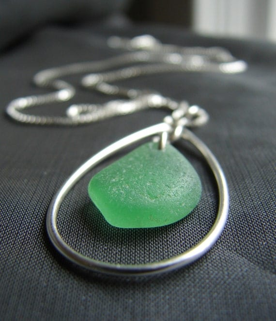Sea Keeper sea glass necklace in spring green